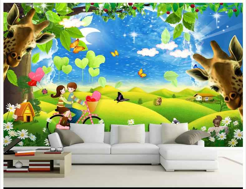 3D wallpaper custom picture mural wall paper 3D romantic couple cartoon giraffe background wall bedroom decoration.jpg q50