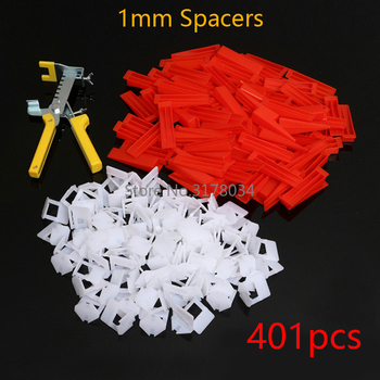 401pcs Tile Leveling System Spacer Tiling Flooring Tools 300 Pieces Clips + 100 Pcs Wedges + Pliers Spacer 1mm