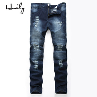HMILY Men's vintage holes patch slim skinny ripped jeans Casual trendy painted distressed denim beggar male brand pants