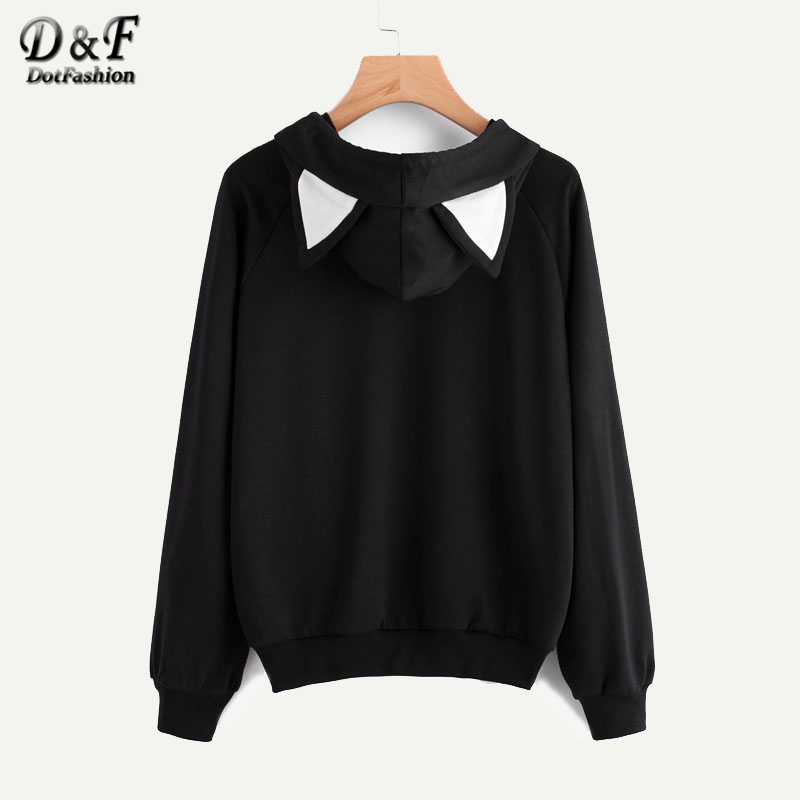 Contrast Cat Ear Cartoon Print Front Women Hoodies Sweatshirts ...