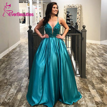 Spaghetti Straps Evening Dress 2019 Satin Beaded Ball Gown Formal Party Gowns Robe De Soiree