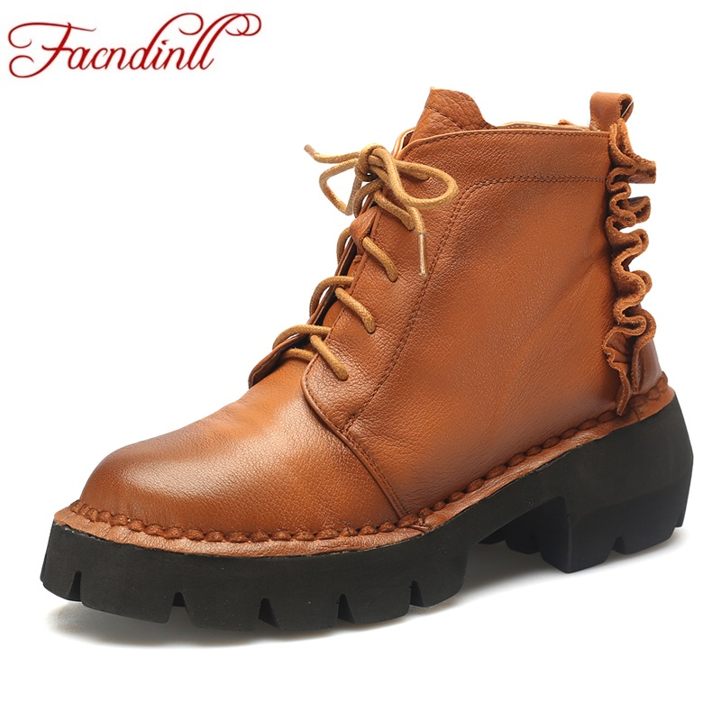 FACNDINLL new handmade genuine leather boots vintage style flat booties soft cowhide women's shoes zip ankle boots zapatos mujer front lace up casual ankle boots autumn vintage brown new booties flat genuine leather suede shoes round toe fall female fashion