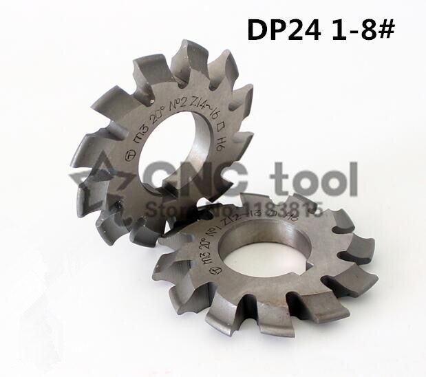 DP24 Modulus Pressure Angle 14.5 Degrees 1-8# 8pcs/let HSS Gear Cutter Gear Milling Cutter Free Shipping