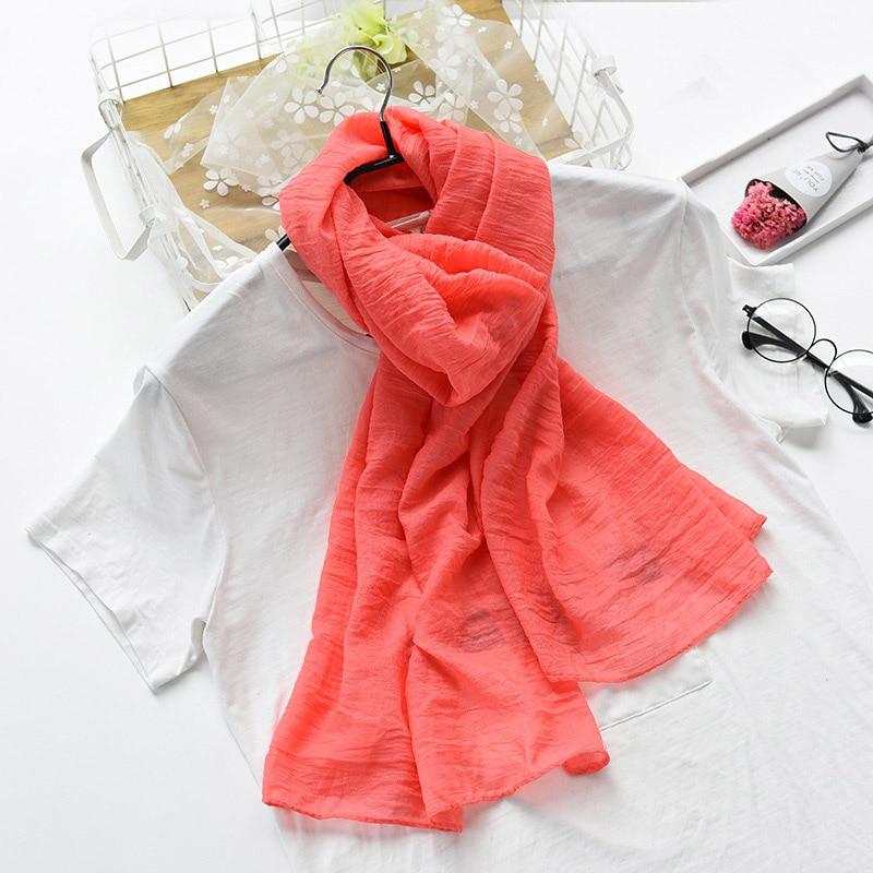 3c68135e76f77 Vente Pur Couleur Femmes Écharpe De Coton Doux Musulman Hijab Solide ...