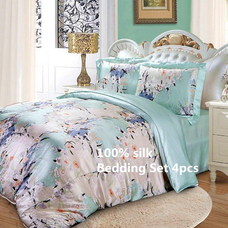 Jogo de cama de seda 4 pcs Luxuoso Amoreira Seda Pura Impressão Macio Muitos Tamanhos de Folha Plana de Capa de Edredon Fronha ls2107