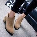 El otoño y el Invierno de Las Mujeres Gruesas Botas de Tacón Femeninos de Cuero Cremallera Lateral Zapatos Botas Zapatos Mujer Botas Tobillo de La Manera de La Vendimia