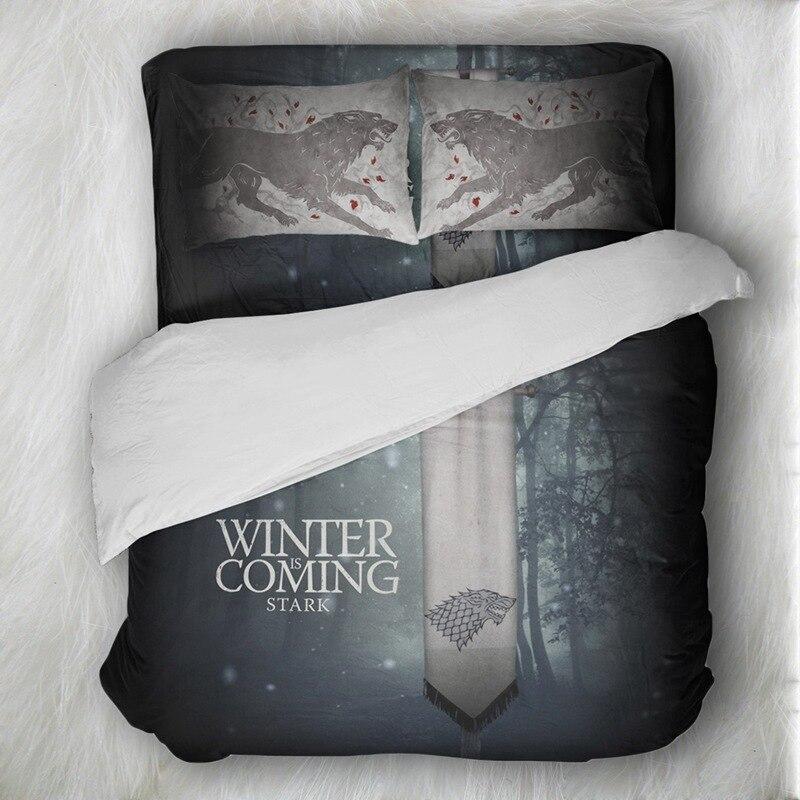 Skull Bedding Set Game Of Thrones Wolf Bedding Sets Queen Size Duvet Cover Sets Pillowcases Bed Linen Colcha De