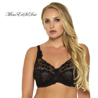 2015 Women Big Size Bra Unlined Minimizer Bras Sexy Lace Hollow Black Color Have C D