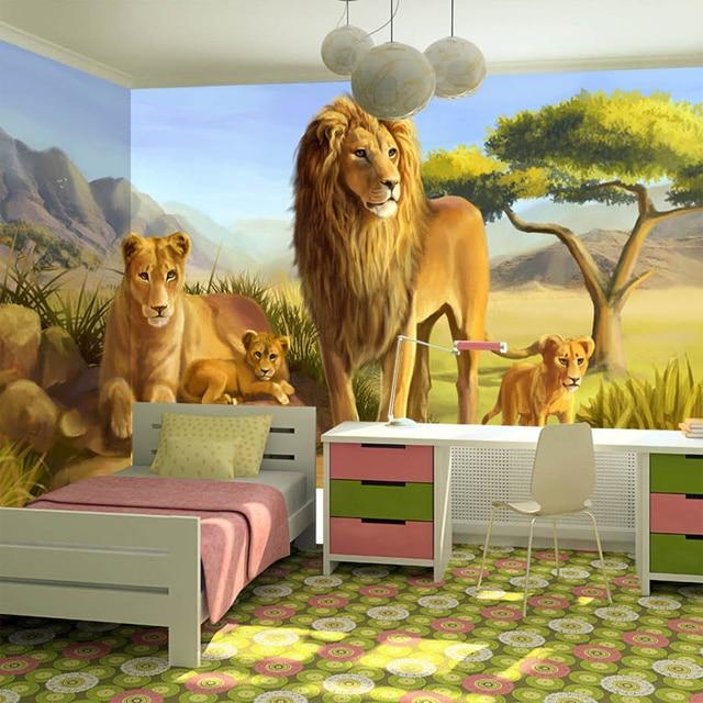 Buy Custom 3d Poster Wallpaper Steppe Lion Cartoon Animal Mural Wall Covering