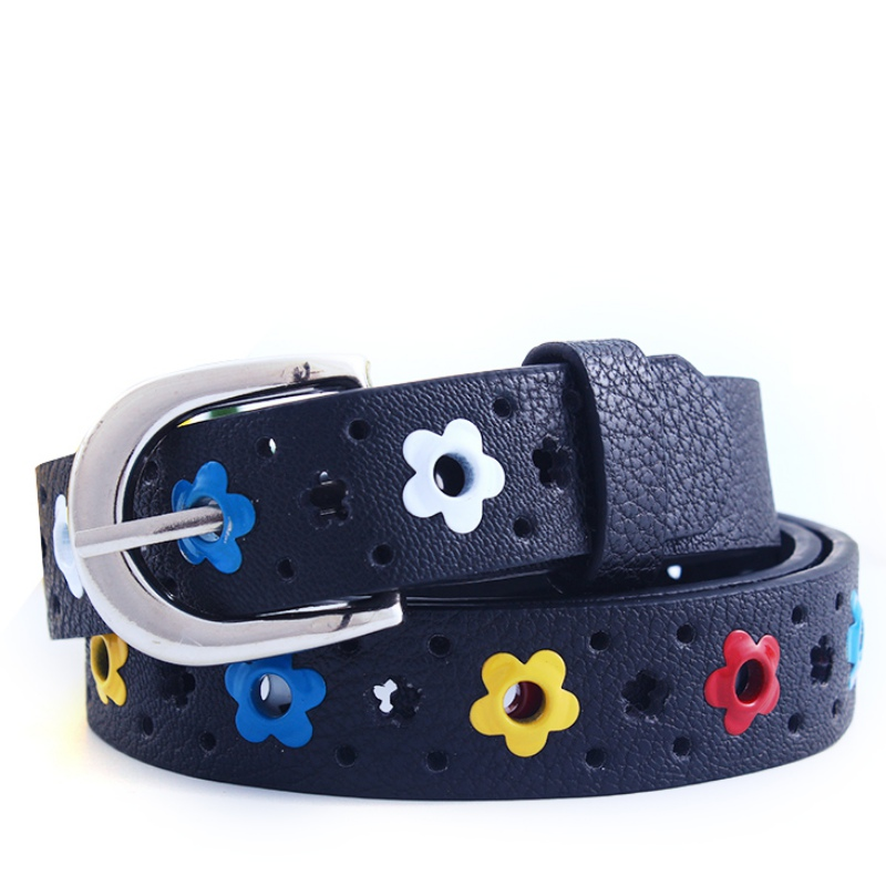 KIDS CHILDREN BOYS GIRLS Hollow Flower Waistband Faux Leather   Belt   Silver Buckle