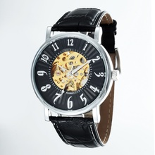GOER brand Automatic mechanical male Wrist watch Digital fashion watches men Leather waterproof Luminous Skeleton
