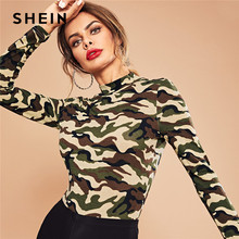 SHEIN Multicolor Mock Neck Camo Print Bodysuit Casual Skinny Mid Waist Long Sleeve Stretchy Bodysuits Women Autumn Bodysuits(China)