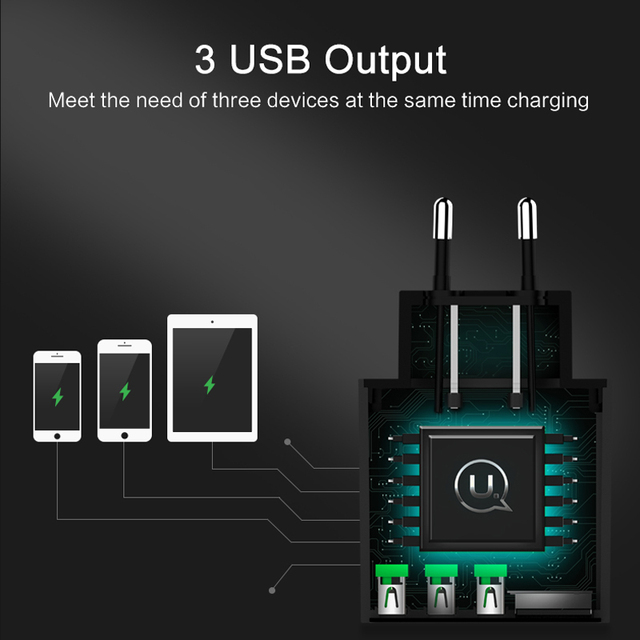 USAMS 3 USB Phone Charger Mobile Phone Charger LED Display Max 3A EU Wall Charger