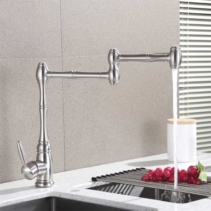 European High Quality Folding Kitchen Faucet Household Sink Faucet Hot and Cold Mixing Valve 304 Stainless Steel Rotating Tap - 3