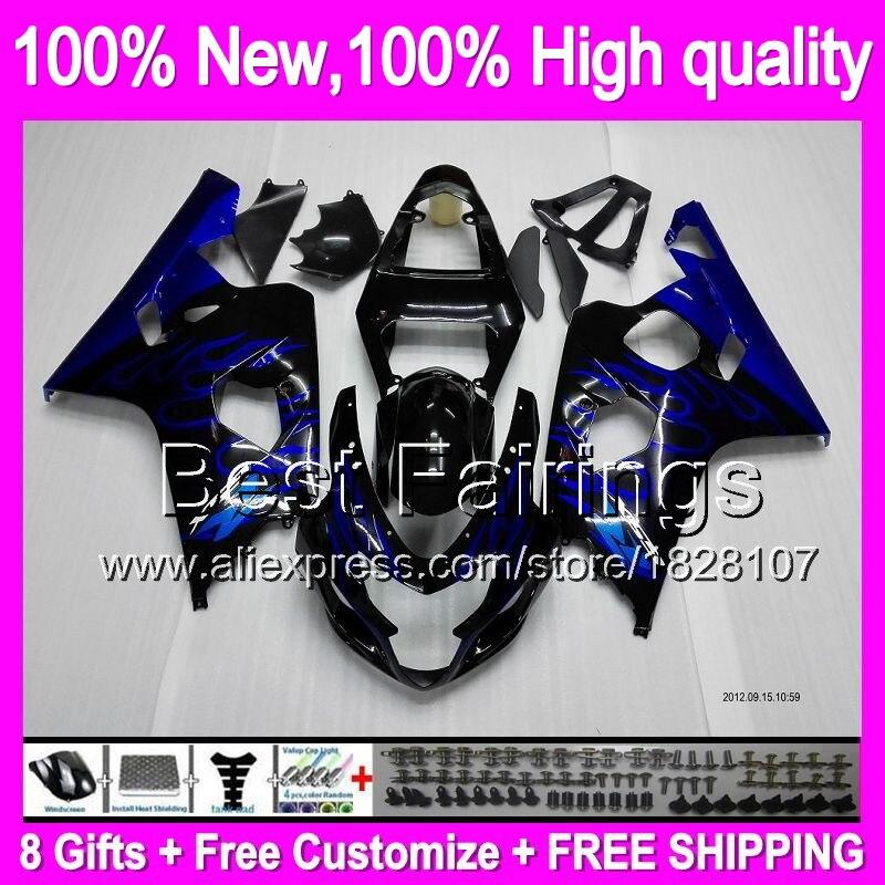 Blue flames K4 Fairing  For SUZUKI GSXR750 04 05 R600 04-05 Blue black 2B821 GSX R750 K4 GSXR600 GSXR 750 600 2004 2005 +Decal
