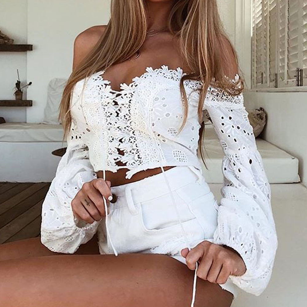 HTB1Z.SAeHSYBuNjSspiq6xNzpXas - Fashion Ladies Off Shoulder Lace Blouses Women Summer Long Sleeve Bandage Crop Tops Shirt Sexy Hollow-out Casual White Blouse #L