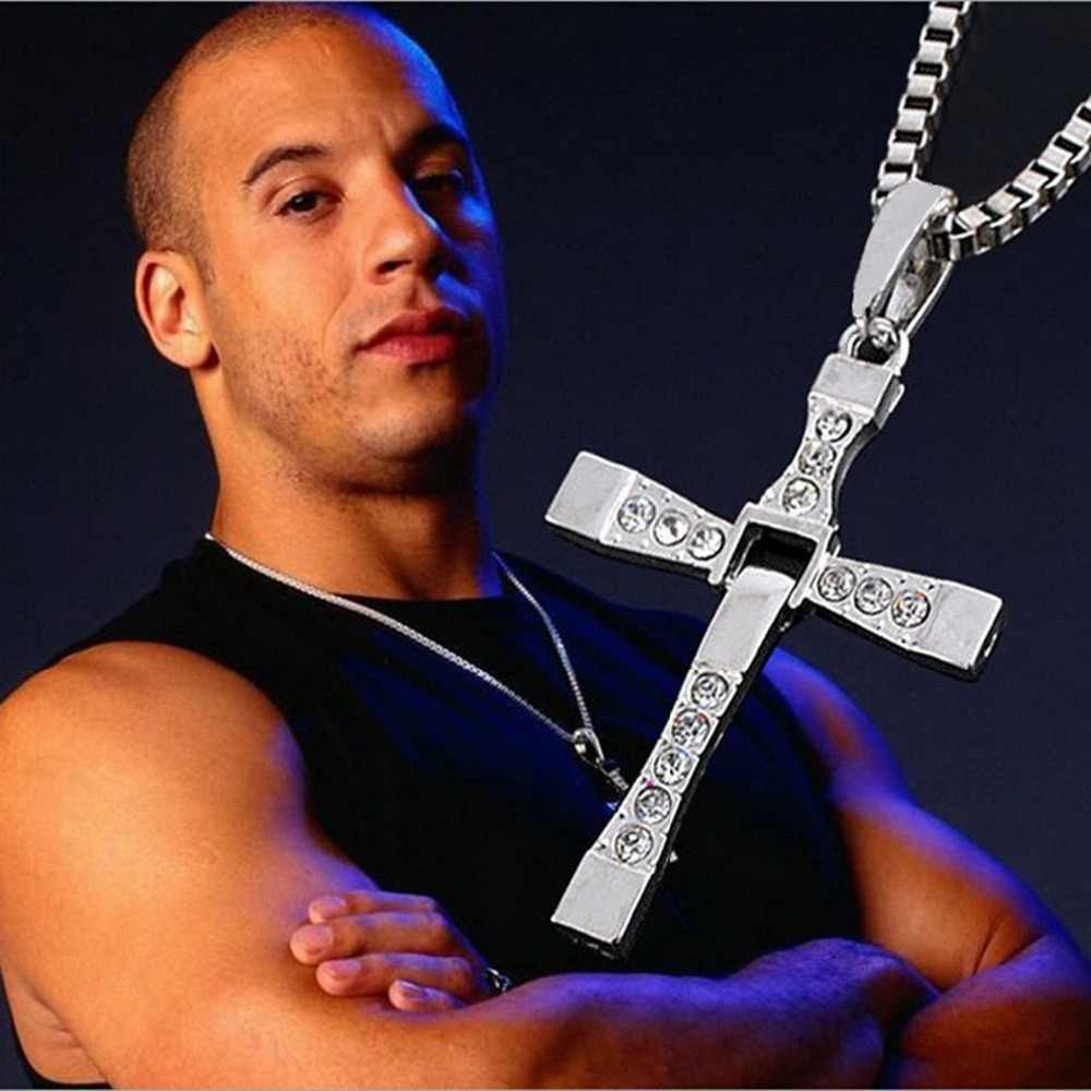 V.Ya Punk Cross  Man Pendant & Necklaces Stainless Steel The Fast and The Furious Men Chain Necklace Christian Jewelry Male Gift