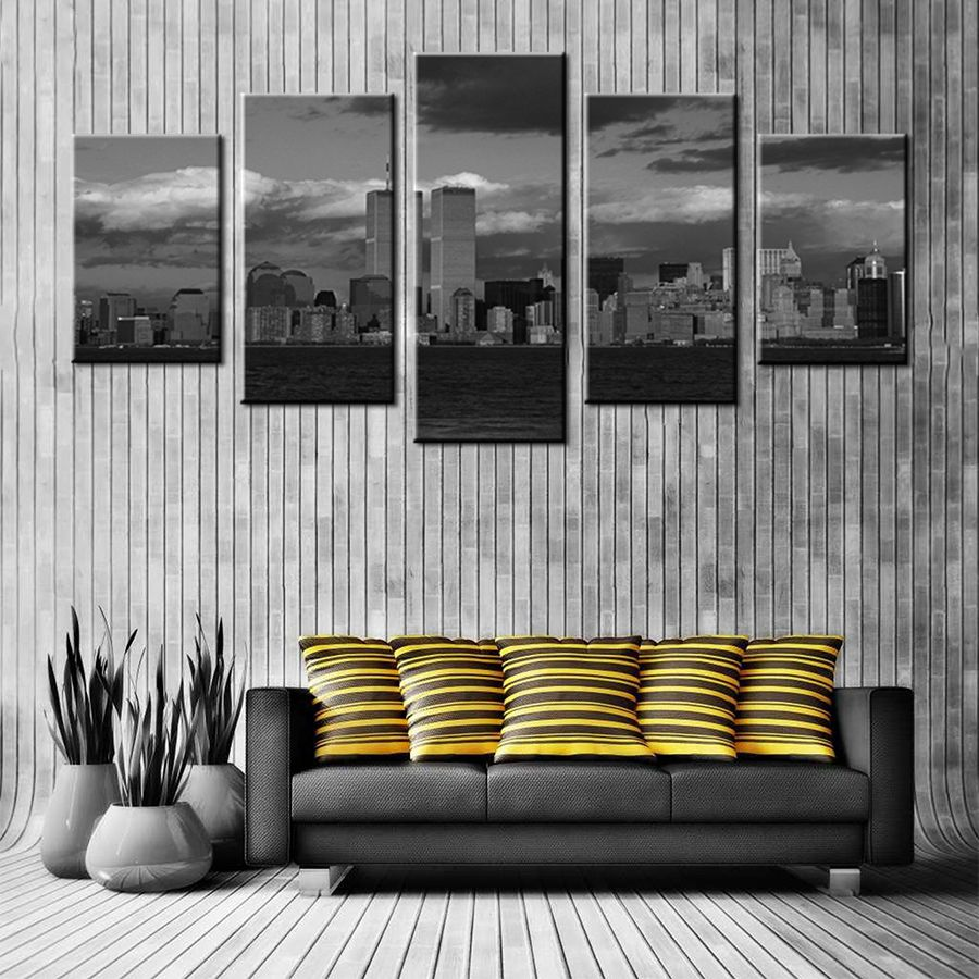 Cityscape Poster Artwork Canvas Painting Print on Canvas Huge Photo Black and White City Night Poster for Bedroom Home Wall Art