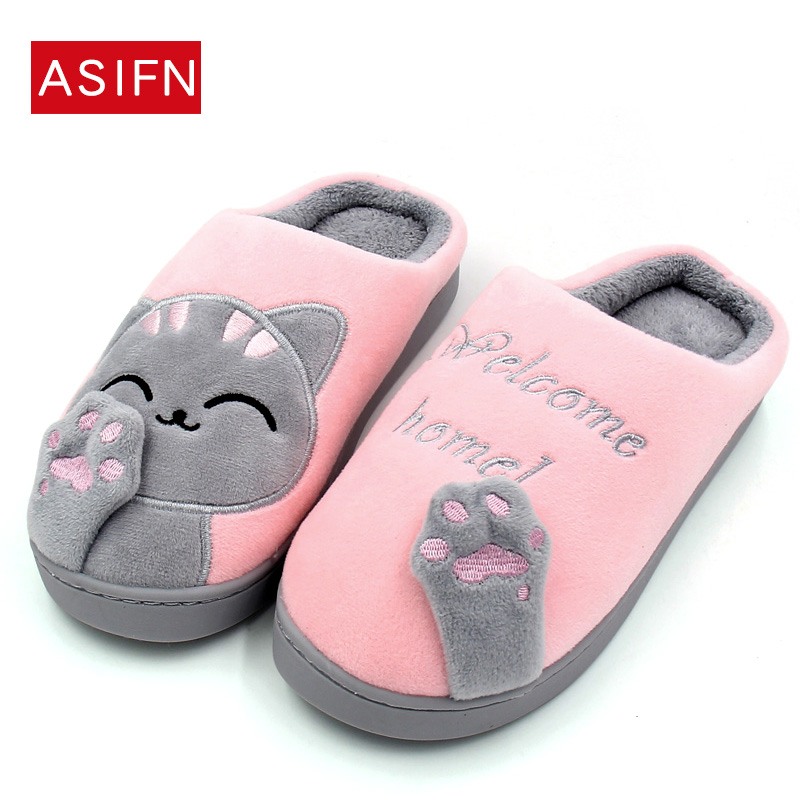 Women Winter Home Slippers Cartoon Cat Home Shoes Slip on Soft Winter Warm Fur Slippers Indoor Bedroom Loves Couple flip flops big size44 warm home slippers women bedroom winter slippers cartoon slippers fur slides autumn lovers female indoor soft bottom