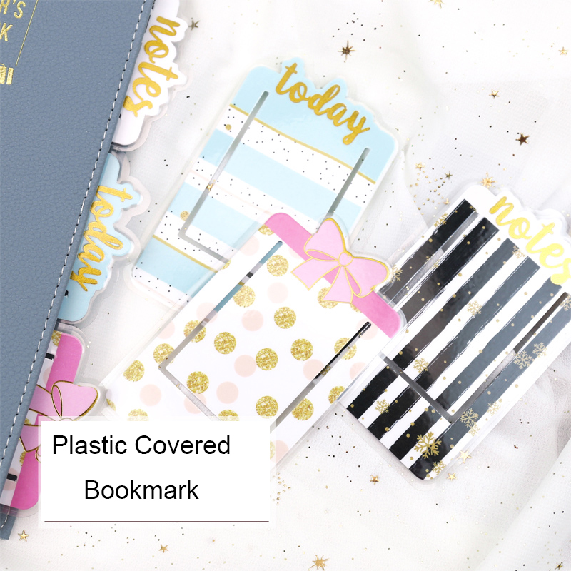 Fromthenon Cute Pvc Plastic Covered Bookmark Today Notes Bow Tie Cute Notebook Index Planner Decorative Accessories Stationery