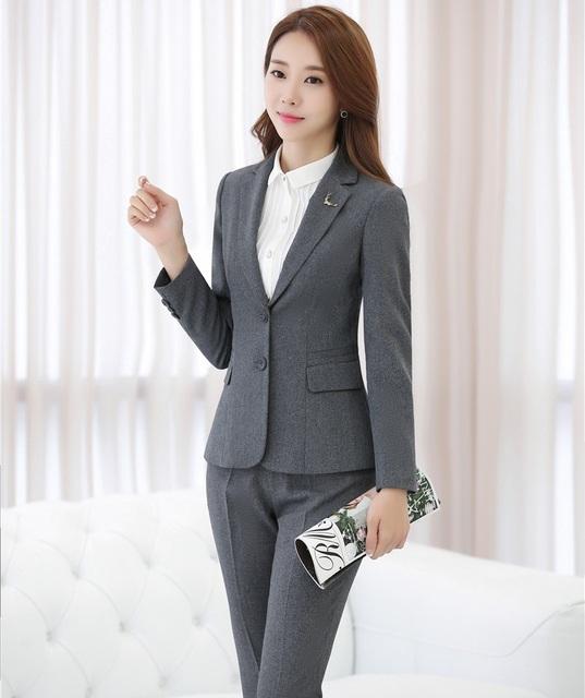 Plus Tamaño 4XL Diseño Uniforme Pantsuits Formales Con Las Chaquetas Y Pantalones de Otoño Invierno de Las Señoras Blazers Pantalones Conjunto Profesional