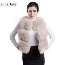 Women Fur Coat Vest Gilet Fox-Jacket Short Pink Java Real-Fox Winter High-Quality Luxury