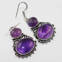 Amethysts Earrings Silver Overlay Over Copper 49 Mm E1016