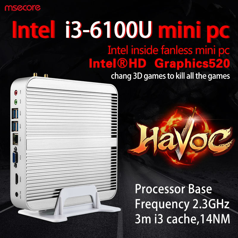 Fanless Intel Core i3 6100U Mini PC Windows 10 Desktop Computer NUC barebone system TV box