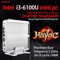 Fanless mini pc windows 10 computador desktop intel nuc barebone system caixa de TV Skylake Core i3 HTPC 6100U HD520 Gráficos 300 M Wi-fi