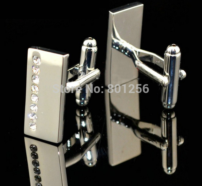 Free Shipping Men Crystal Cufflinks White Color Rectangle Design Hotsale Copper Material Cufflinks Whoelsale&retail