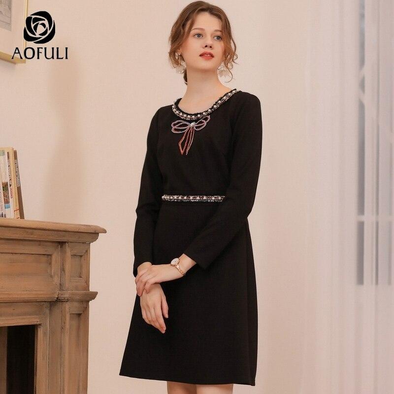 AOFULI łuk kształtki z długim rękawem Slim sukienka na zimę kobiet Plus Size wysokiej talii sukienki na imprezę L czarny  XXXL 4XL 5XL A3741 w Suknie od Odzież damska na  Grupa 2