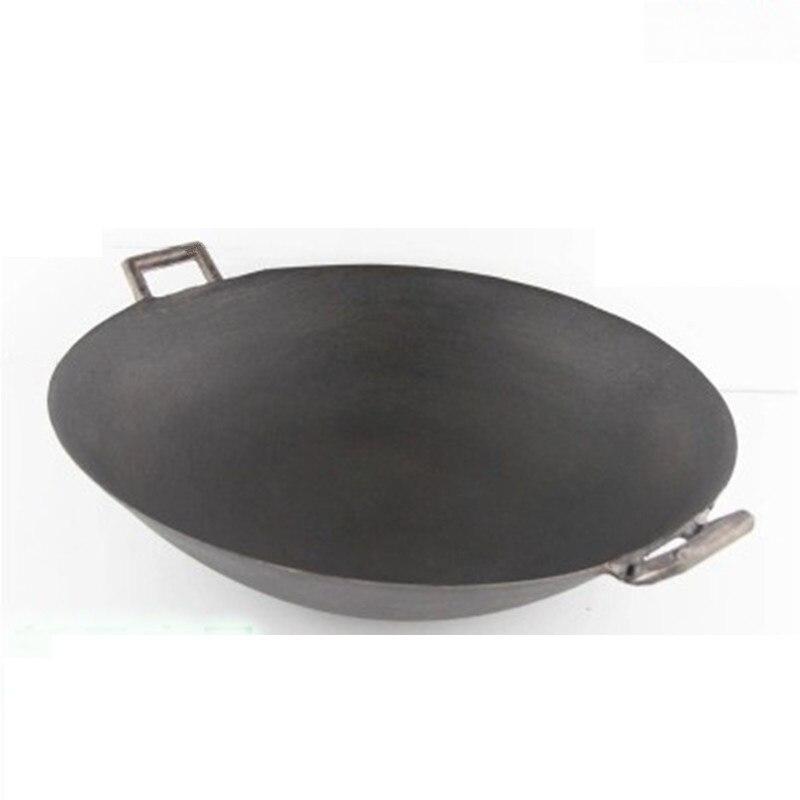 Picnic di campeggio wok 27-40 cm articoli casalinghi in acciaio ferro wok padella da cucina pentole pentola profonda