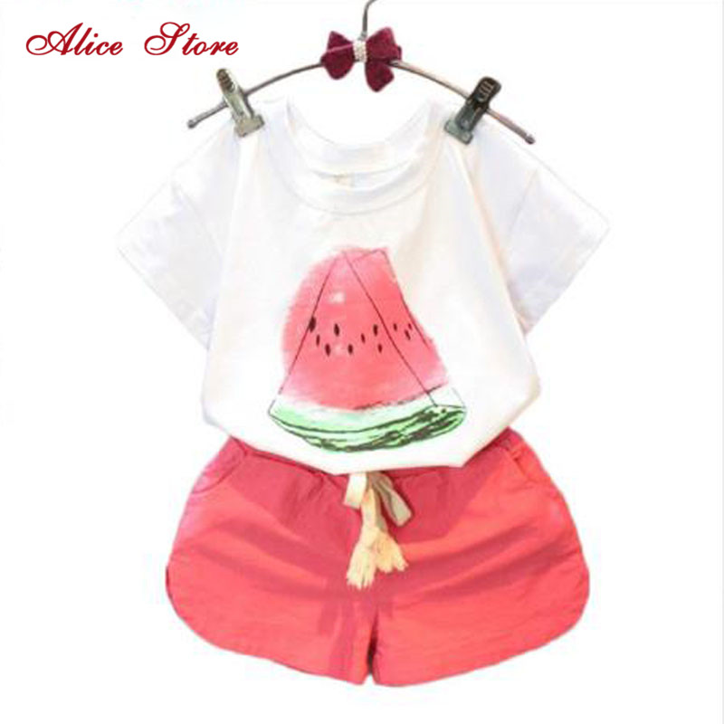 Alice Girls Clothing Sets 2018 New Summer Casual Style Watermelon Print Design Short Sleeve + Pants 2Pcs for Kids ClothesAlice Girls Clothing Sets 2018 New Summer Casual Style Watermelon Print Design Short Sleeve + Pants 2Pcs for Kids Clothes