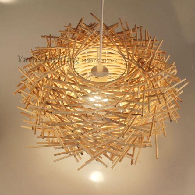 Mão-tecido cany arte criativa nordic lâmpada de madeira lâmpadas de iluminação e27 luzes pingente gaiola de pássaro ninho 257-n21 novelty free grátis