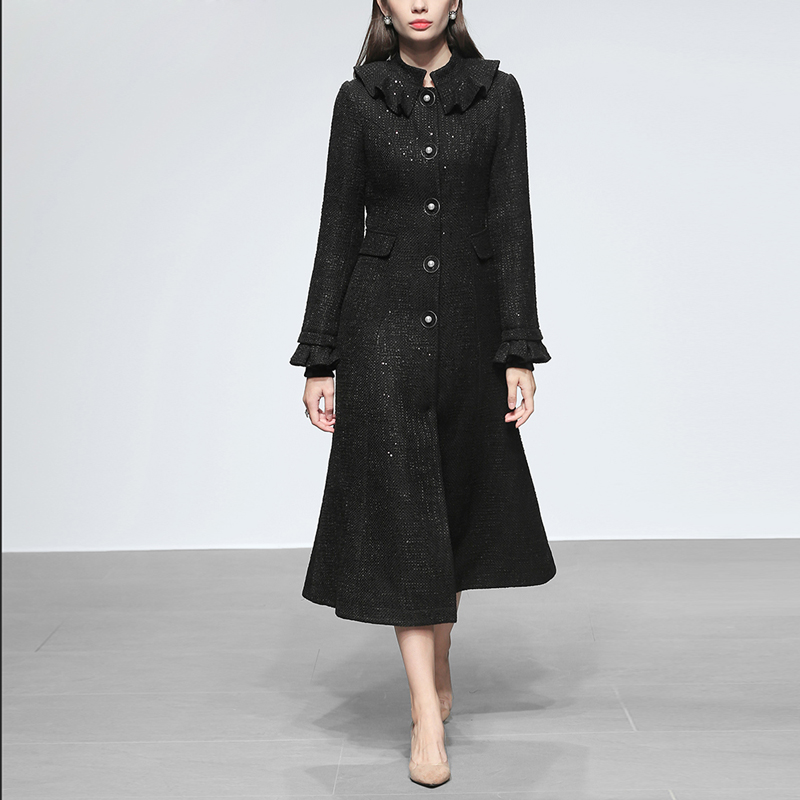 2018 Autum Winter New Women Overcoat European And American Elegant Sequined Ruffles Lonh Flare Sleeve Mid-calf Tweed   Trench