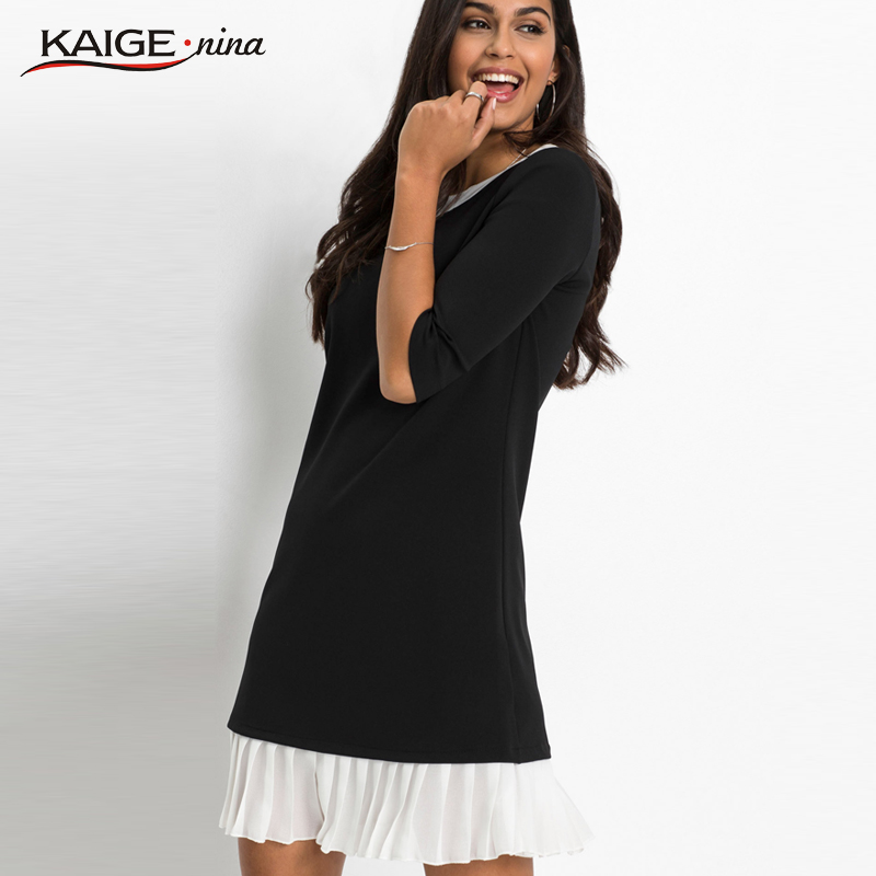 Knit Dress splice Office Lady Black and white Patchwork Cascading Ruffle Straight Above Knee, Mini Fold Woman casual dress 19080