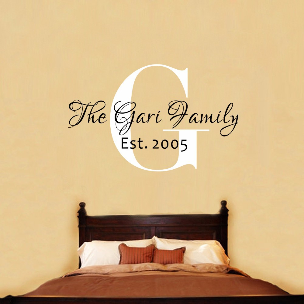 Family Name Monogram Wall Decal Personalized Family Name,Wedding ...