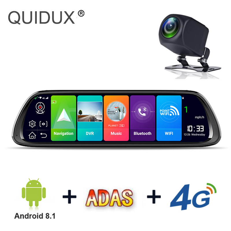Video-Recorder Dvr Camera Android Navigation Car-Rearview-Mirror Dash-Cam Dual-Lens Wifi