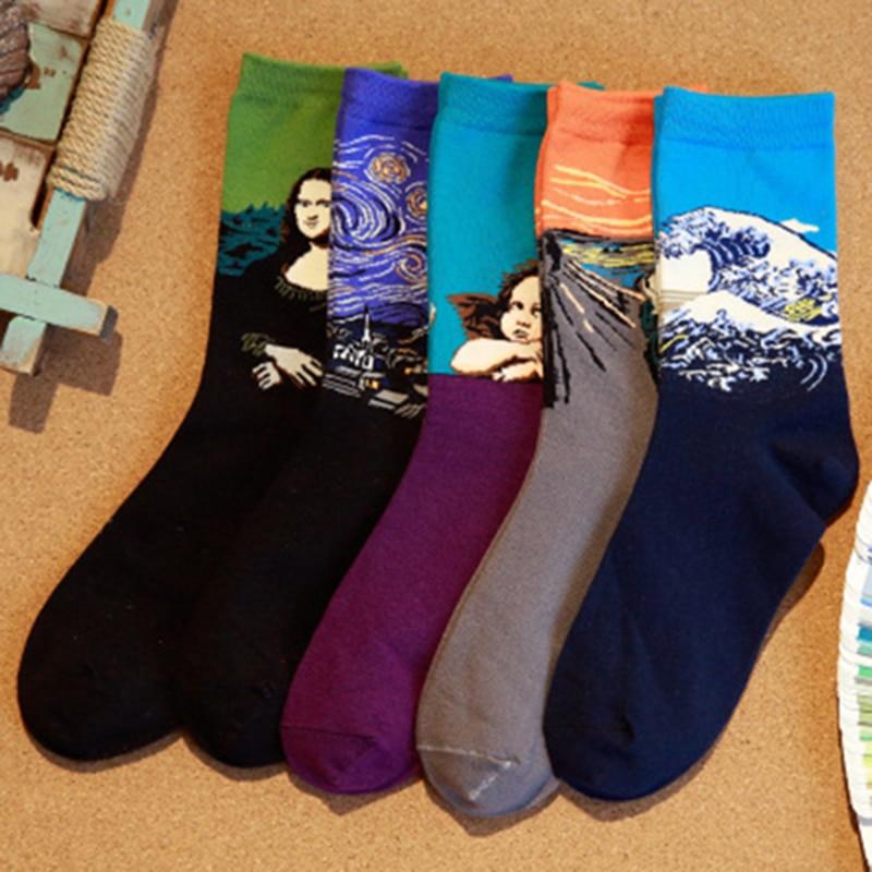 Men's Art Socks With Print Calcetines Women Van Gogh Socks Male Skarpety Cool Cotton Socks Oil Painting Meia Funny Happy Socks