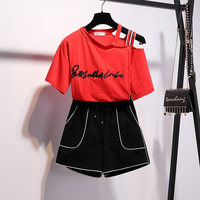 Summer Womens Two Piece Set 2019 Sexy Letter Print Crop Top Shorts Suit Tracksuit 2 Piece Set Outfit Clothes Chandal Mujer