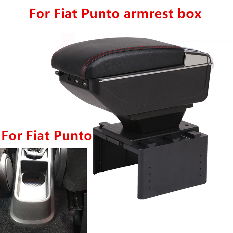 For Fiat Punto armrest box USB Charging heighten Double layer central Store content cup holder ashtray accessories