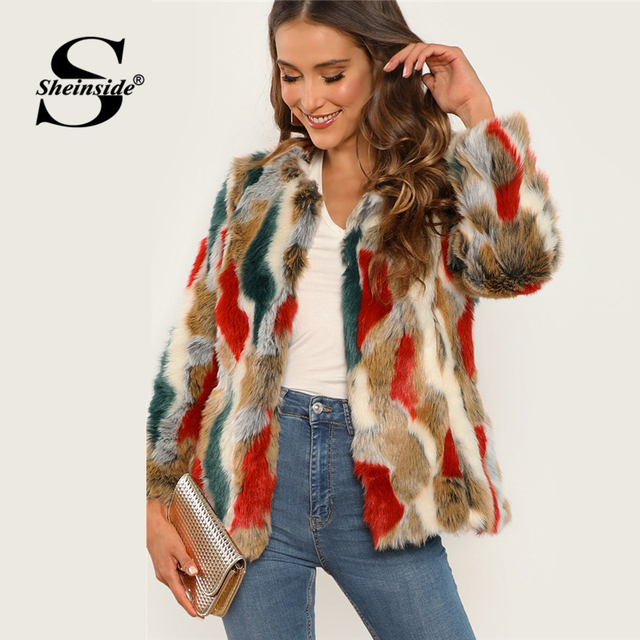 b68c0f02b903 Sheinside Colorful Open Front Faux Fur Coat Women Winter Clothes 2018 Round  Neck Outerwear Casual Womens Warm Jackets And Coats