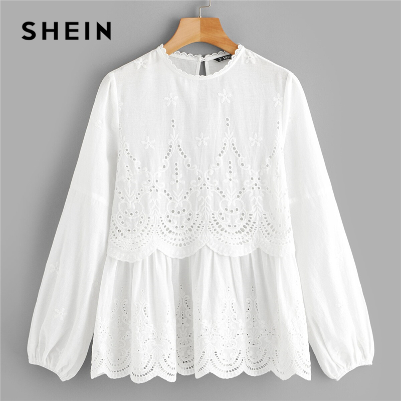 SHEIN Laser Cut Insert Scalloped Peplum Blouse 2019 White Eyelet Embroidery Long Sleeve Bishop Sleeve Womens Tops And Blouses