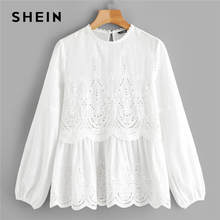 SHEIN de corte láser insertar festoneado Peplum blusa 2019 blanco ojal bordado de manga larga Bishop Sleeve tops y blusas para mujer