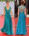 Celebrity Dresses Kate Middleton Blue Green Color Real Actual Images A Line V Neck Cap Sleeves Lace Beaded Ribbon Kate Dresses