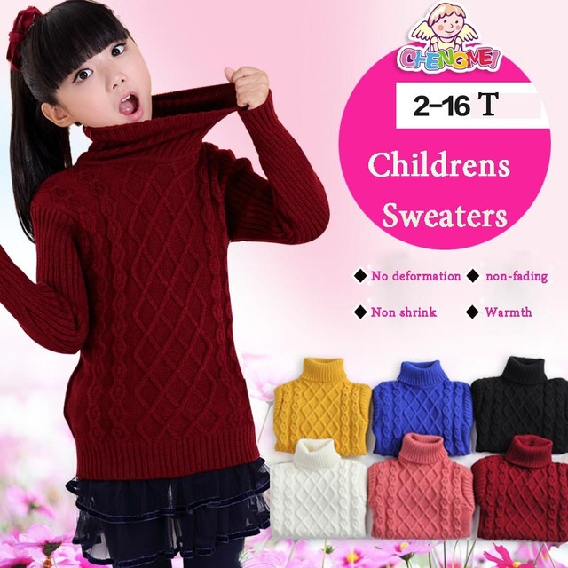 2016 Kids Boys & Girls Autumn Winter Clothes Pullovers Sweater Children Clothing Turtleneck Sweater Girls 2-15 age Kids Clothes