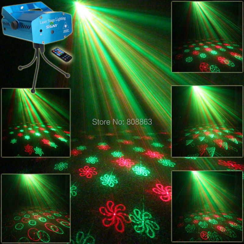 New Mini Red Green 24 patterns Projector Laser Stage Lights Disco DJ Holiday House Home Club Xmas Family Dace Party light RR24