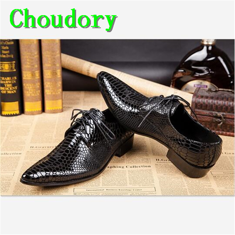 Choudory Height Increasing Patent Leather Pointed Toe Black Snakeskin Mens Dress Shoes Sewing High Fashion Low Mens Shoes Casual