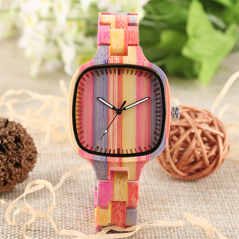 Unique Colorful Wood Watch Womens Full Wooden Bracelet Ladies Dress Clock Environmental Protection Bamboo Watch Horloges Vrouwen