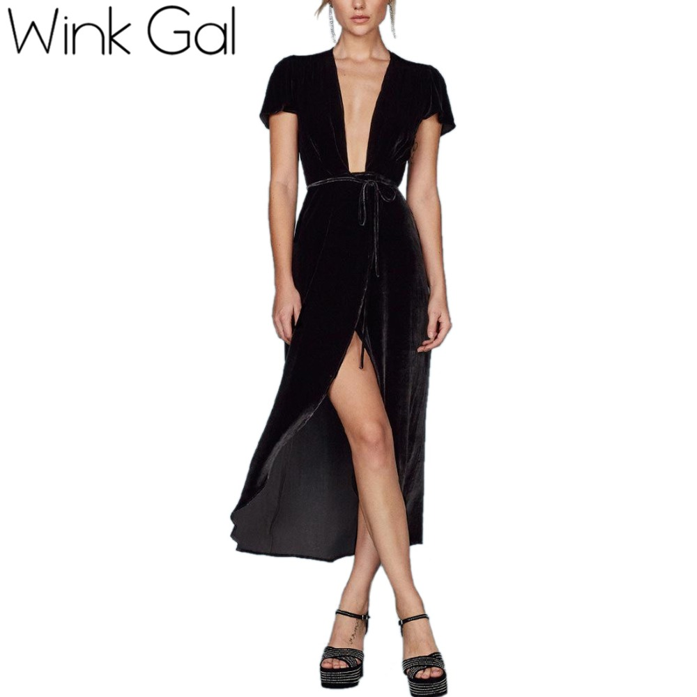 Wink Gal Autumn Winter Dresses Evening Party Black Velvet Dress For Women Vintage Sexy Split Party Dresses D0127